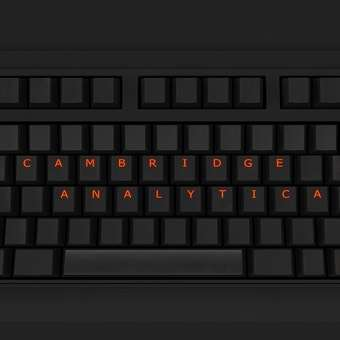 Cambridge analytica written on a black keyboard