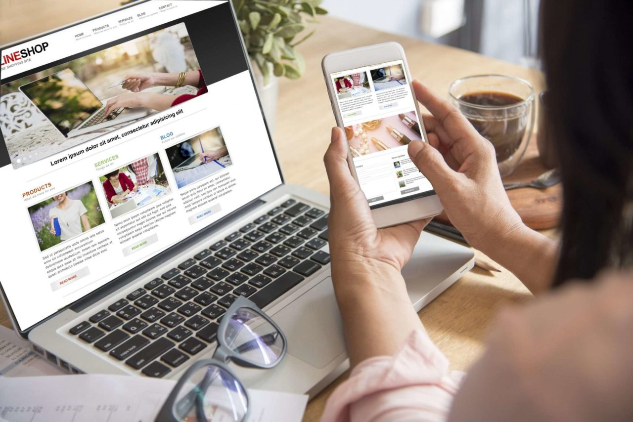 website design on laptop and iphone