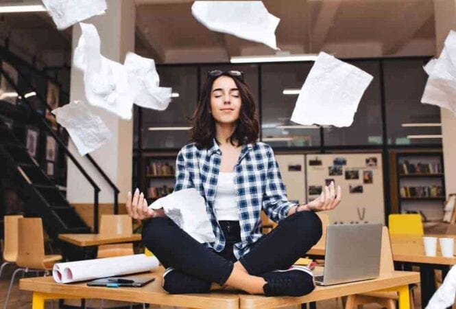 Meditating at a busy desk to cope with anxiety