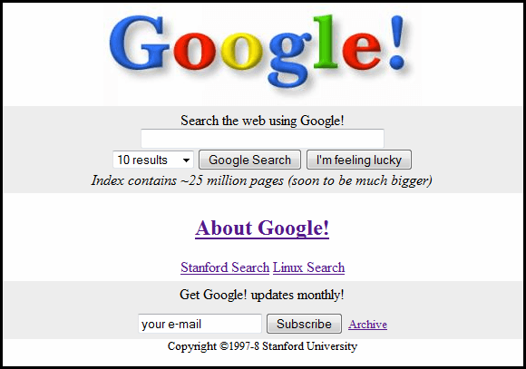 Google homepage in 1998 - where SEO began!