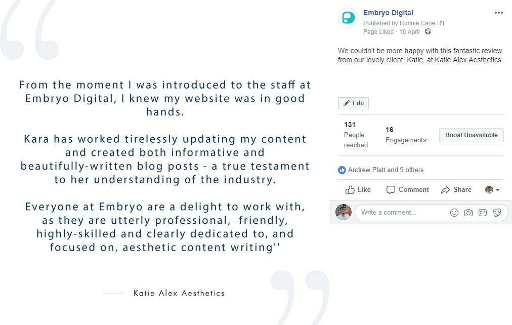 embryo digital testimonial from katie alex aesthetics