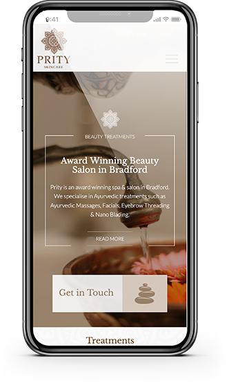 Prity Skincare Homepage on iPhone