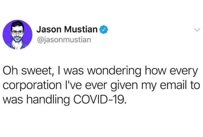 tweet about covid-19 emails