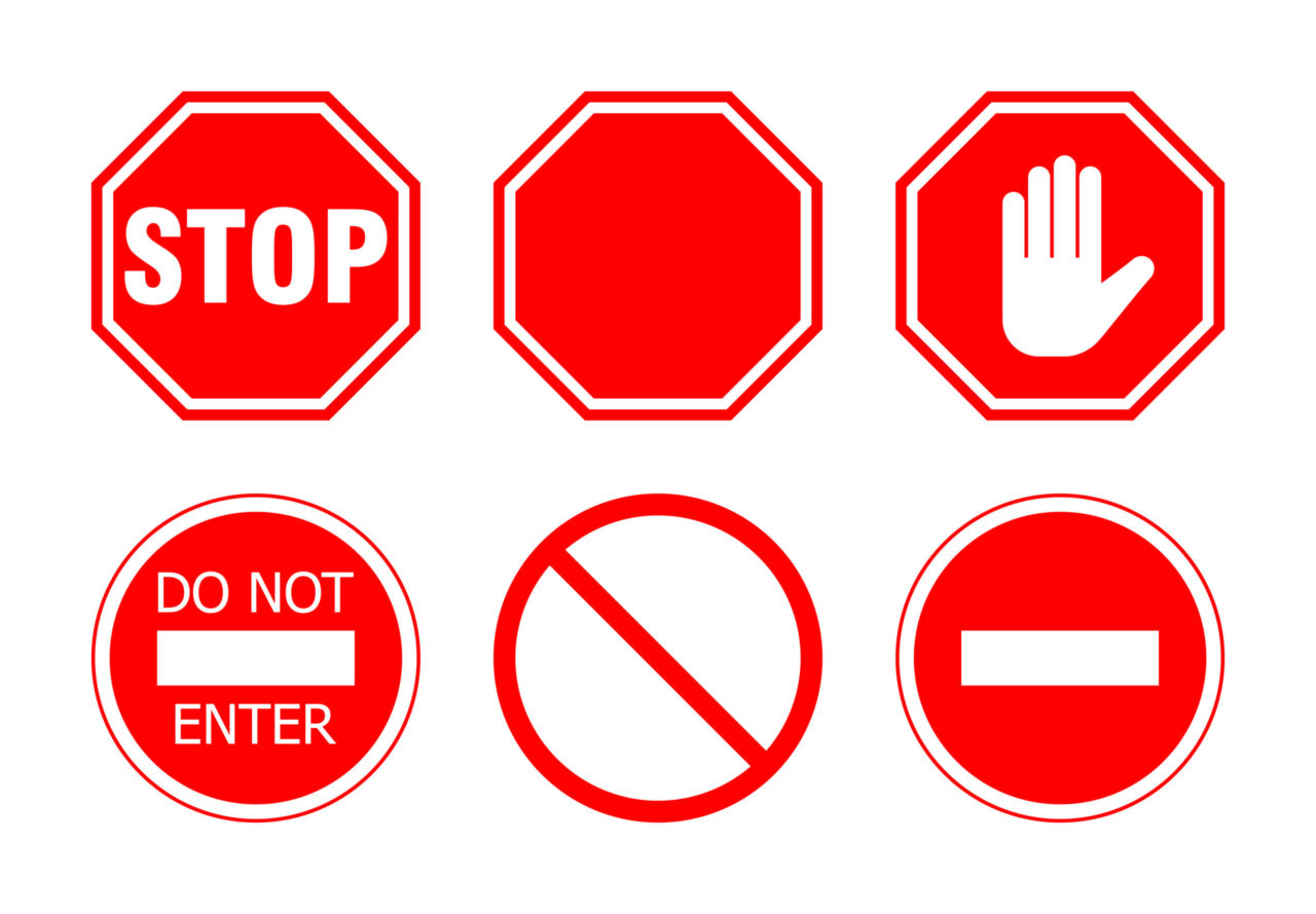 stop do not no signs
