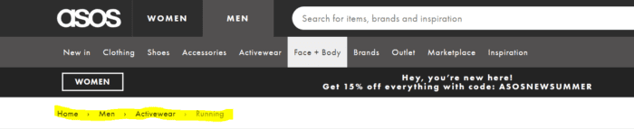 example of breadcrumb usage for SEO on Asos website