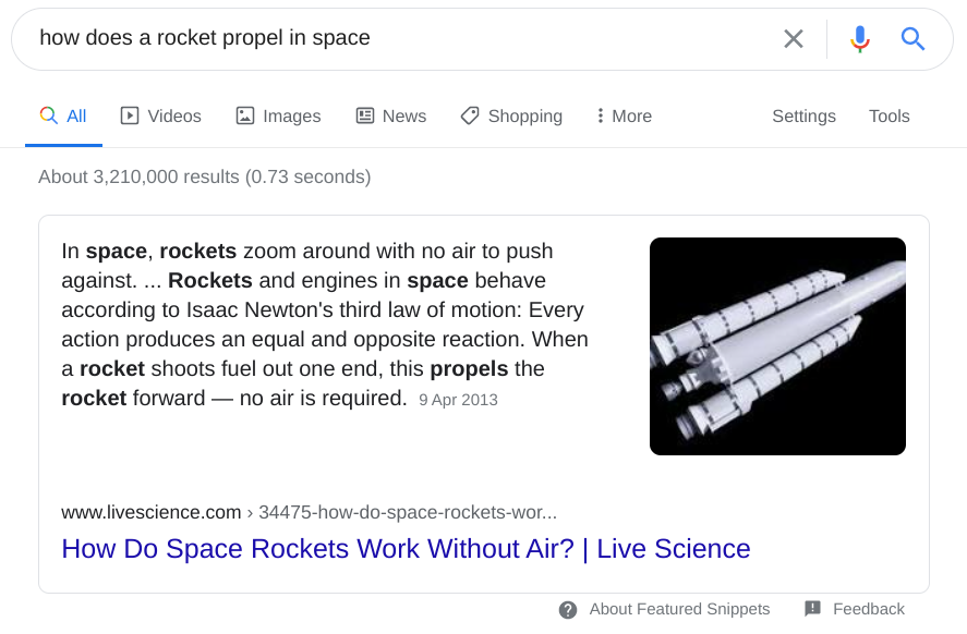 google search results for how does a rocket propel in space