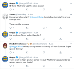 greggs twitter replies