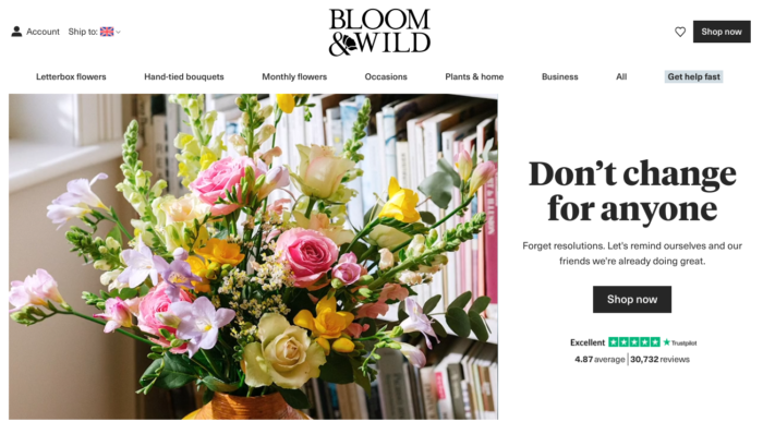 copywriting on bloom and wild