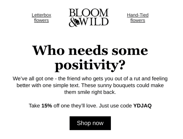 email marketing from bloom and wild