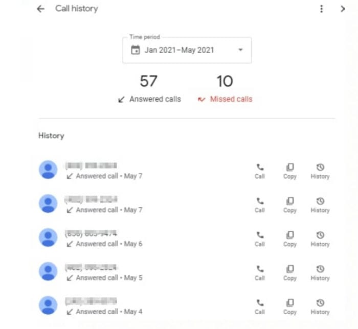 google my business call history