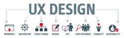 ux design, broken off into 8 sub-sections of ux